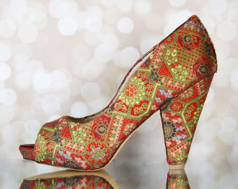 CUSTOM CONSULTATION:  Chinese Brocade Wedding Shoes, Wedding Shoes, Design Your Own Wedding Shoes, Custom Wedding Shoes, Asian Wedding