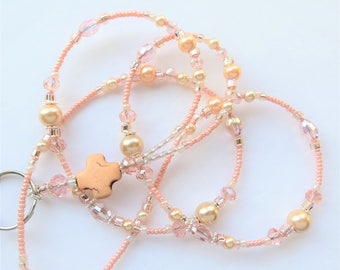 PEACH CROSS- Beaded ID Lanyard- Magnesite Cross, Glass Pearls, and Sparkling Crystals  (Necklace Clasp)