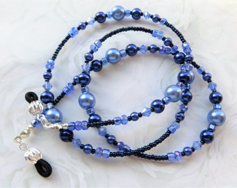 BLUE BEAUTY- Beaded Eyeglass Lanyard- Glass Pearls and Sparkling Crystals