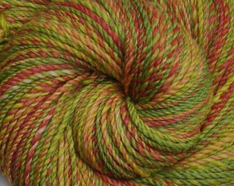 Hand spun yarn - Hand painted Silk / Falkland wool, DK weight - 270 yards - Citrus Salad