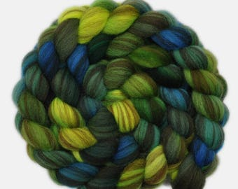 Hand painted roving - Shetland Humbug wool spinning fiber - 4.1 ounces - Well-Wishers 1