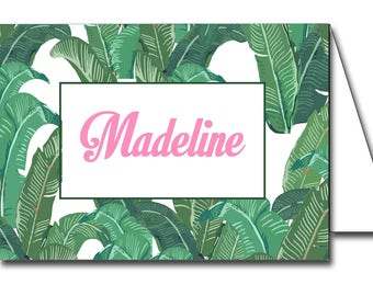 Instant Download Tropical Banana Leaf Printable Place Cards