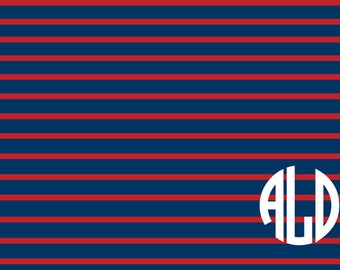 Personalized or Plain Rugby Stripe Navy and Red Disposable Placemats - set of 12