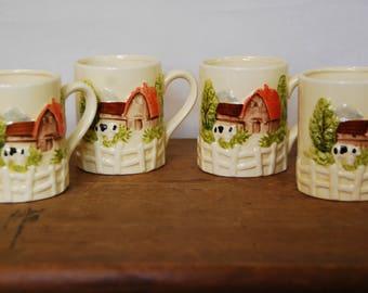 Set of Four Vintage Mugs Barn Scene Handpainted Japan