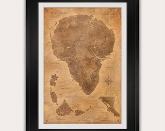 Jurassic Park Map - Sepia - Poster - Isla Nublar Map - Print - Antique Style Vintage World Map - Dinosaur
