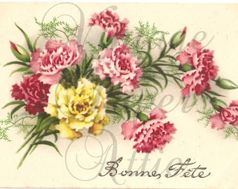 Vintage French Postcard Pink & Yellow Carnations from Vintage Paper Attic