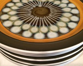 Mid Century Dish Set, Green and Gold Dish Set, Ceramic Dish Set, Stoneware Set, Dinnerware,  Electra  Stoneware,