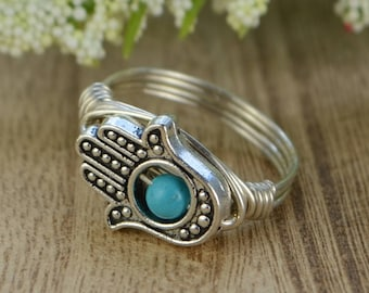 Hamsa Hand Ring- Silver, Yellow or Rose Gold Filled Wire Wrapped, Silver Plated Bead, Turquoise Howlite- Any Size 4 5 6 7 8 9 10 11 12 13 14