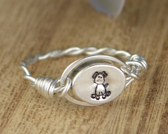 REVERSIBLE Any Monogram and Dog Ring-Sterling Silver, Yellow or Rose Gold Filled Wire Wrapped/Silver Bead-Size 4 5 6 7 8 9 10 11 12 13 14