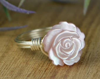 Pink Mother of Pearl Rose Wrapped Ring - Sterling Silver, Yellow or Rose Gold Filled Wire/Carved Flower- Size 4 5 6 7 8 9 10 11 12 13 14