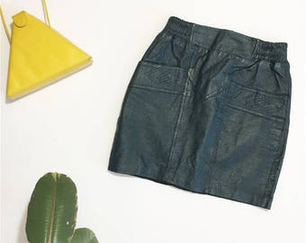 70s leather mini skirt