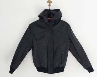 Vintage 80's Black Leather Bomber Jacket with Hood S