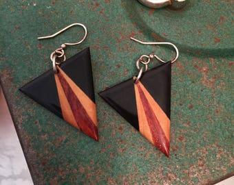 Vintage 80's Black Wood Triangle Earrings