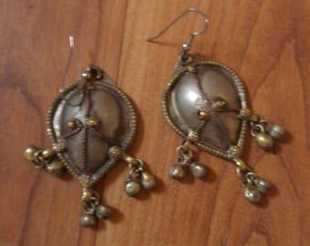 80s Indian metal dangle bell earrings
