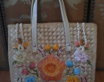 70s woven raffia flower bag