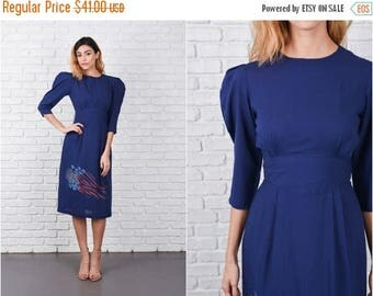 ON SALE Navy Blue Dress Vintage 80s Puff Sleeve Floral Comet Pleated XS 8380
