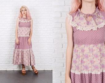 Vintage 70s Purple Boho Hippie Dress Floral Lace Tiered Maxi XXS 9822