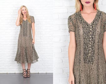Vintage 80s 90s Black Floral Lace Dress Grunge Sheer Beige Flower Small S 10146