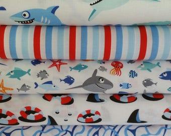 White Sharktown Bundle from Riley Blake's Sharktown Collection - 5 Fabrics