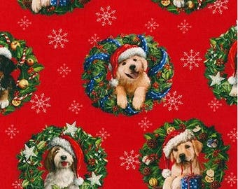 Santa Dogs in Wreaths on Red from Robert Kaufman's Christmas Pets Collection