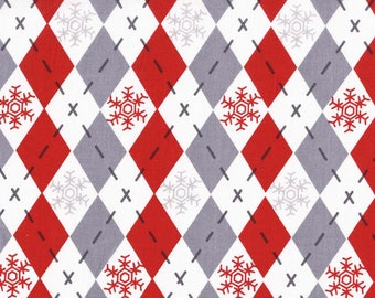 Argyle Sweater Santa Red and Grey from Michael Miller Fabric's Woodland Winter Collection