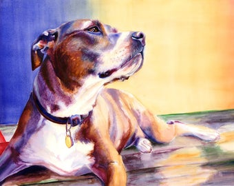Pit Bull Dog Watercolor Fine Art Print on Paper, Metal, or Bamboo