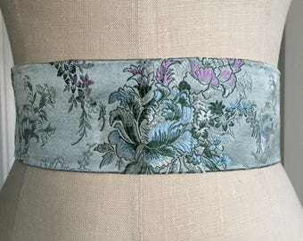 Asian Brocade silk obi sash, pale Blue print obi belt, silk organza obi belt sash, waist cincher, engagement party sash