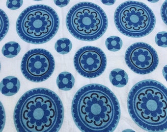 2 Pairs of Blue and White Patterned Barkcloth Curtains Vintage