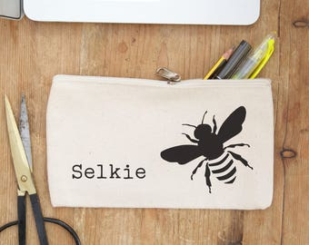 Bee personalised pencil case - Choose empty or fill with pens to make an adorable gift for best friends, for back to school gifts, birthday