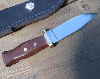 Tactical/Hunting Knife 440C Stainlass Steel Blade, Katalox Wood handle With Leather Sheath