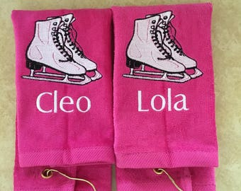 personalized ice skating towel, ice skating, skating, figure skating, ice skate wipe, skate drying towel, personalized skating towel