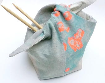 Bento Bag, Knitting Bag, Lunch Bag, Nani Iro Fabric