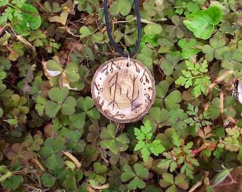 Hugin & Munin wood pendant - Norse Magick - Rune Pendant