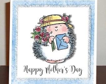 Hedgehog Mother's Day card, birthday card