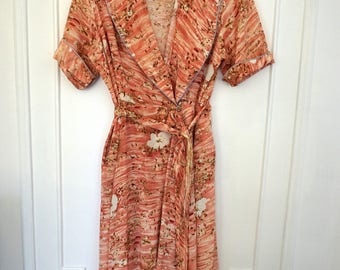 Perfect Pink 1940's Pink Floral Wrap Dress