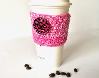 Bright pink denim-look coffee cozy sleeve, cotton blend coffee cozy, Christmas stocking stuffer, to-go cup sleeve, coffeehouse cup sleeve