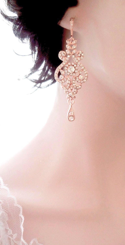 Rose gold earrings ~ Brides earrings,Rose gold crystal earrings,Rose ...