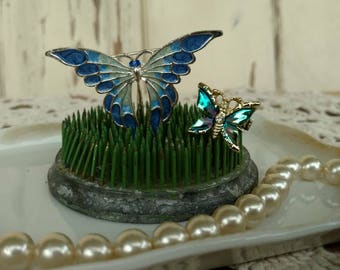 Retro Butterfly Pin Collection - Vintage Blue Lapel Pin, Costume Jewelry, Butterfly Brooches, Butterfly Jewelry, OOAK Butterfly Gift For Her