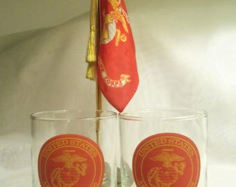 Magnificent Vintage MARINE CORPS. USMC Low Ball On the Rocks Whiskey 2 Pc. Glass Set- Birthday Gift Him Her Boyfriend Husband Dad Father Men