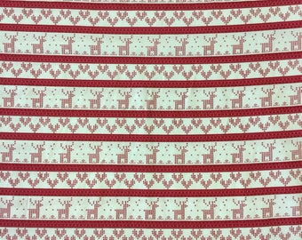 Copehagen Print Factory Knitted Xmas in red 100% cotton fabric by the half metre