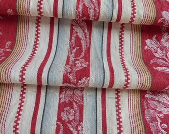 Vintage linen mattress ticking LONG French red ticking stripe fabric antique red floral striped mattress toile supply textile French fabric