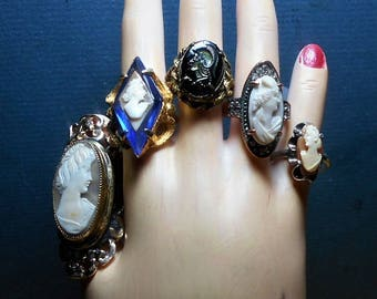 1 Diamond Shape Blue Rhinestone Cameo RING Adjustable Gold Tone, Shell Cameo. All Vintage Used, Only 74.90 One of a Kind!