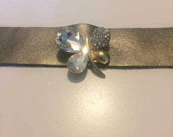 Genuine Leather Cuff Bracelet with Vintage Crystal & Rhinestone Butterfly Brooch
