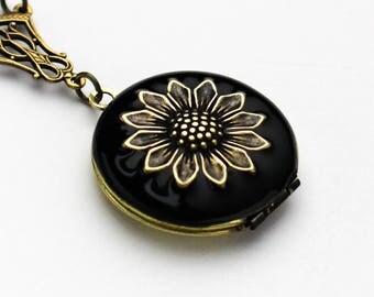 Personalized Locket, Black Enamel Sunflower Locket Necklace, Sunflower Necklace, Sunflower Jewelry, Birthday Wedding Bridesmaid Gift