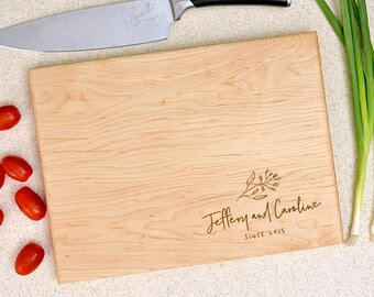Personalized cutting board, wedding gift, custom cutting board, anniversary gift, contemporary design with names and date.