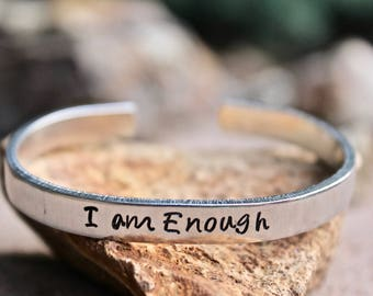 I am Enough Bangle, Inspirational Bangle, Inspiration jewelry, You are Enough Bangle, Inspiration Jewelry, I am Enough Bracelet, I am Enough