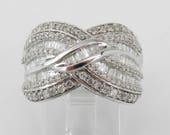 1.25 ct Diamond Wedding Ring Anniversary Band White Gold Size 7
