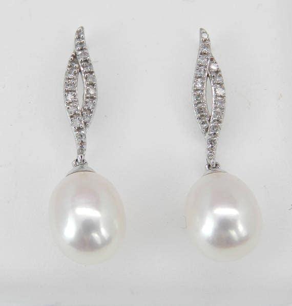 Pearl and Diamond Dangle Drop Earrings 14K White Gold June Birthstone Wedding