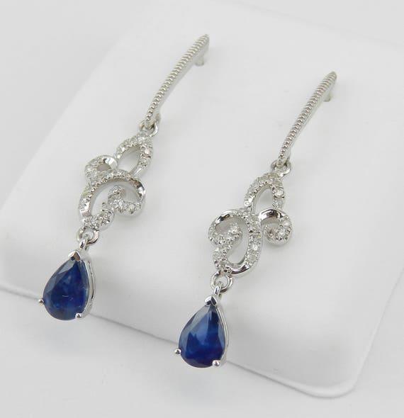 14K White Gold Sapphire and Diamond Drop Earrings Wedding Gift September Birthday Gem