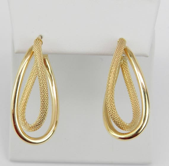 14K Yellow Gold Unique Twisted Hoop Earrings Hoops FREE SHIPPING Fine Jewelry Perfect Gift